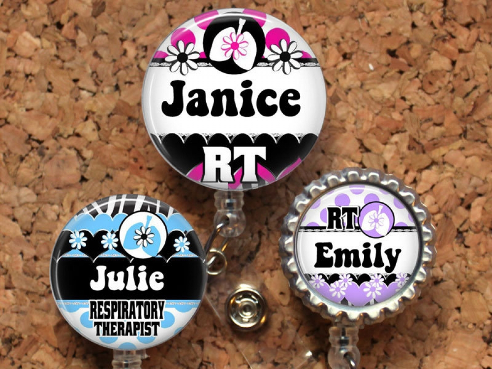 RT with Lungs ID badge retractable reel badge  Nurse,Medical,Hospital,student,