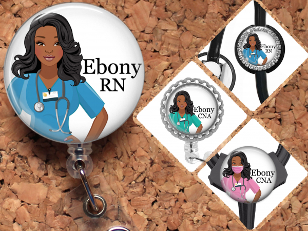 Black Nurse Badge Reel, Personalized Retractable ID Holder, African American Customized Lanyard, Carabiner, Stethoscope, Mylar N1067