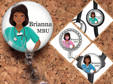 Black Nurse Badge Reel, Personalized Retractable ID Holder, African American Customized Lanyard, Carabiner, Stethoscope, Mylar N1071