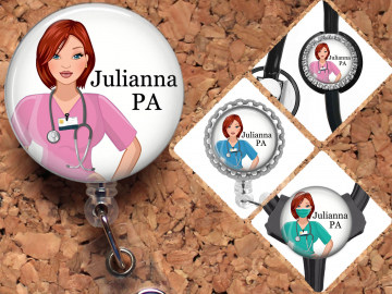 Nurse Badge Reel, Personalized Retractable ID Holder, Red Hair Caucasian Customized Lanyard, Carabiner, Stethoscope, Mylar N1073