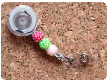 Interchangeable Badge Reel Base, Beaded Retractable ID Holder, Switchable Badge Reel or Lanyard, Sparkles Pink Green White