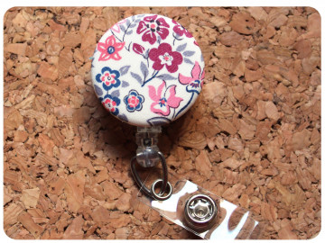 Fabric Floral Badge Reel, Retractable Lanyard ID Holder, Brooch Pin, Key Ring, Zipper Pull, Bookmark Planner Clip, Magnet   F106