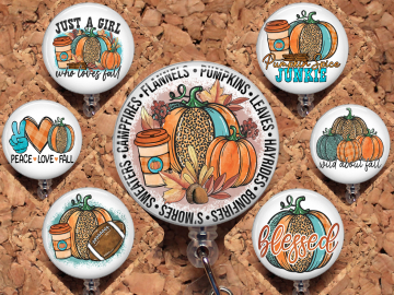 Fall Badge Reel, Retractable Lanyard Badge Reel, Carabiner, Wild about Fall,  Just a Girl who Loves Fall, Pumpkin Id Holder Mylar 8022