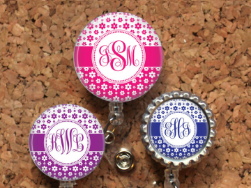 Flower Badge Reel, Personalized Retractable ID Holder, Lanyard, Choice of Colors, Carabiner, Stethoscope Tag, Mylar, Monogram Script
