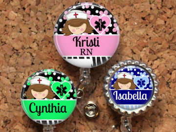 Nurse Badge Reel, Personalized Retractable ID Holder, Lanyard, Badge Pull, Choice of Colors, Carabiner, Stethoscope Tag, Mylar, Brown