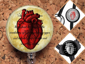 Cardiac Nurse Badge Reel ID Holder, Cardiologist Lanyard, Carabiner, Stethoscope Tag, Yoke Tag, Heart Doctor, Heart Organ Mylar