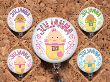 Badge Reel ID Holder Cute Baby Personalized Lanyard Carabiner Baby Badge Reel NICU MBU Maternity Ward Mother Baby Unit Pediatrics Mylar