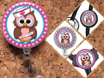 Owl Badge Reel Id Holder, Lanyard, Carabiner, Stethoscope Tag, Yoke Tag - fits all stethoscopes including Littmann, Gifts for Nurses, Mylar