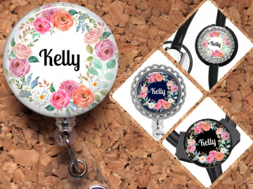 Flower Badge Reel, Yoke Stethoscope Tag - fits Littmann, Carabiner, Steth Tag, Personalized Retractable ID Holder, Lanyard, Mylar, OFlowers3