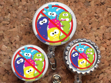 Badge Reel, NO GERMS, Lanyard, Germ Retractable Name Holder, Nurse Gift, Doctor Gift, Microbiologist, Badge Pull, Stethoscope Tag, Mylar