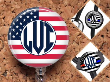 Monogram Flag Badge Reel, Police Personalized Retractable ID Holder, Fire Lanyard, Badge Pull, Card Holder, Carabiner, Stethoscope Tag,Mylar