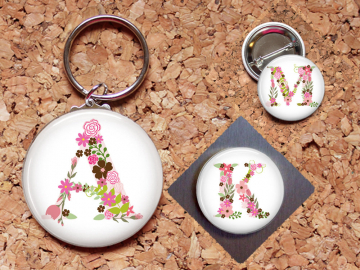 Alphabet Flower Magnet, Floral Initial Key Chain, Flowers Pin, Refrigerator Magnet, Key Ring, Brooch Pin, Fridge Magnet, Key Holder