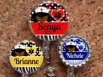 Nurse Badge Reel, Personalized Retractable ID Holder, Lanyard, Badge Pull, Choice of Colors, Carabiner, Stethoscope Tag, Mylar, Black