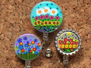 Garden Flowers Badge Reel ID Holder, 30 Different Designs,  Lanyard, Carabiner, Stethoscope Tag, Yoke Tag - Fits Littman Stethoscope, Mylar