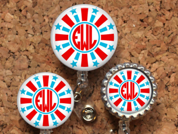 Firework Badge Reel, Patriotic, Personalized Retractable ID Holder, Lanyard, Badge Pull, Carabiner, Stethoscope Tag, Monogram, Mylar