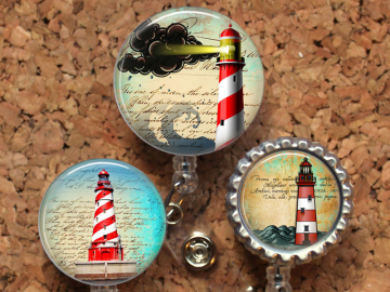 Lighthouse Badge Reel, Retractable ID Holder, Lanyard, Badge Pull, Card Holder, Carabiner, Stethoscope Tag, The Badge Patch, Mylar