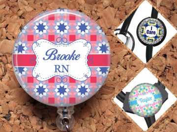 Badge Reel, Quilt, Personalized Lanyard, Retractable Name Holder, Nurse Gift, Carabiner, Stethoscope Tag, Yoke Tag, Teacher,  Mylar