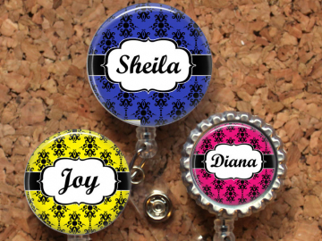 Damask Badge Reel, Personalized Retractable ID Holder, Lanyard, Badge Pull, Choice of Colors, Carabiner, Stethoscope Tag, Mylar