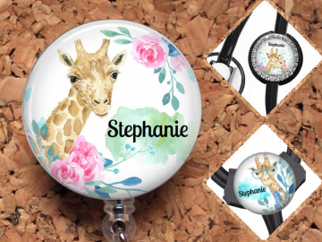 Giraffe Badge Reel, Personalized Retractable ID Holder, Lanyard, Badge Holder, ID Card Holder, Carabiner, Stethoscope Tag, Mylar