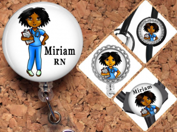Black Nurse Badge Reel, Personalized Retractable ID Holder, African American Customized Lanyard, Carabiner, Stethoscope Tag, Mylar