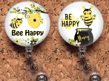 Bee Happy Badge Reel ID Holder, Bumble Bee Retractable ID Holder, Lanyard, Carabiner, Stethoscope Tag, Fits Littmann, Student Gift, Mylar