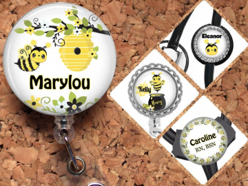 Bumble Bee Badge Reel, Personalized Retractable ID Holder,  Summer Lanyard, Badge Holder, ID Card Holder, Carabiner, Stethoscope Tag, Mylar