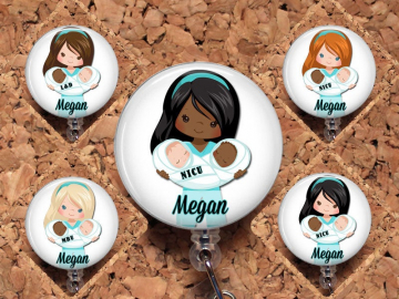 Baby Nurse Badge Reel, African American, Nicu, MBU, L&D  Retractable Badge Reel, Twins Lanyard, Stethoscope ID Tag, Carabiner, Mylar