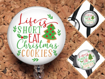 Christmas Badge Reel, Retractable Lanyard Badge Holder, Carabiner,  Id Holder,  Gift for Nurses, Stethoscope Tag Rhinestone Badge Reel Mylar