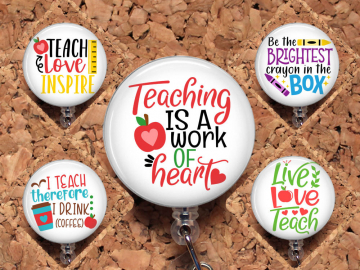 Teacher Badge Reel, Retractable Lanyard Badge Reel, Carabiner, Teaching is a work of the heart, Live Love Teach, Gifts for Teachers Mylar