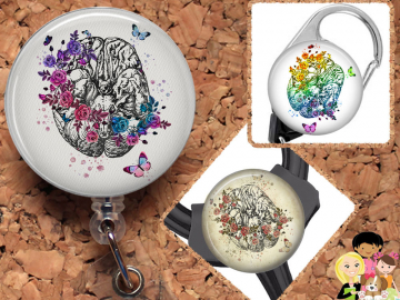 Brain Badge Reel, Retractable Lanyard Badge Holder, Carabiner,  Id Holder,  Gift for Nurses, Stethoscope Tag, Anatomy Badge Reel, Mylar