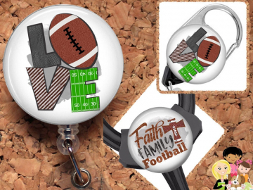 Football Badge Reel ID Holder, Coffee Lanyard, Carabiner, Stethoscope Tag, Yoke Tag - Fits all stethoscopes including Littman,  Mylar