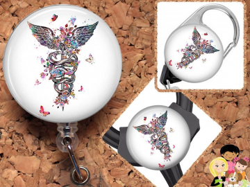 Floral Caduceus  Badge Reel, Retractable Lanyard, Carabiner,  Id Holder,  Gift for Nurse, Stethoscope Tag, Anatomy Badge Reel, Medical Mylar