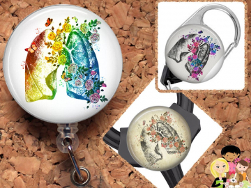 Lung Badge Reel, Retractable Cardiologist Lanyard, Carabiner,  Id Holder, Pulmonary, Stethoscope Tag, Anatomy Badge Reel, Mylar