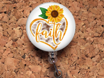Sunflower Faith Badge Reel, Retractable Lanyard Badge Holder, Carabiner,  Id Holder, Stethoscope Tag, Bottle Cap Badge Reel Mylar