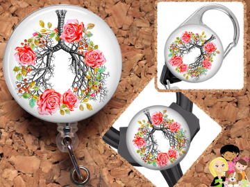 Flower Lungs Badge Reel, Retractable Lanyard, Carabiner,  Id Holder,  Gift for Nurses, Stethoscope Tag, Anatomy Badge Reel, Pulmonary Mylar