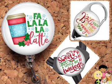 Christmas Badge Reel ID Holder, Coffee Lanyard, Carabiner, Stethoscope Tag, Yoke Tag - Fits all stethoscopes including Littman,  Mylar