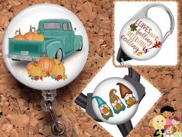 Fall Badge Reel ID Holder, Pumpkin Truck Lanyard, Carabiner, Dwarf Stethoscope Tag, Yoke Tag, Reindeer, Moose, Wreath,  Mylar