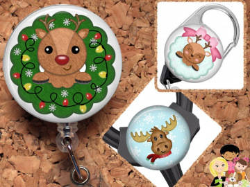 Christmas Badge Reel ID Holder, Holiday Lanyard, Carabiner, Stethoscope Tag, Yoke Tag, Reindeer, Moose, Wreath,  Mylar