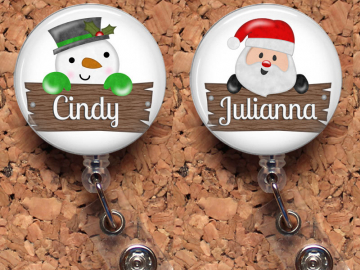 Snowman Badge Reel, Santa Retractable ID Holder, Holiday Lanyard, Christmas Carabiner, Personalized Stethoscope Tag, Badge Patch, Mylar