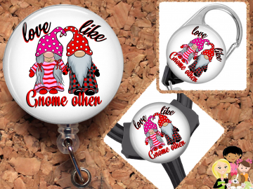 Valentine Gnome Badge Reel, Fall Retractable Lanyard Badge Holder, Carabiner, Id Holder,  Stethoscope Tag Rhinestone Badge Reel Mylar B1063