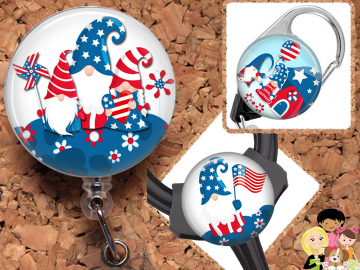 Patriotic Badge Reel, Summer Retractable Lanyard Badge Holder, Carabiner, Id Holder,  Stethoscope Tag Rhinestone Badge Reel Mylar B1075