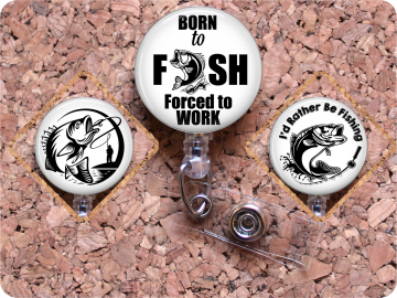 Fishing Badge Reel, Badge Reels for Men,  Masculine Badge Reel, Bass Fishing, Id Holder,  Lanyard, Fathers Day Gift,  Gifts for Dad, Mylar