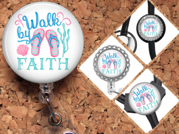 Christian Faith Badge Reel Retractable Lanyard Badge Holder Carabiner Id Holder Stethoscope Tag Nurse Badge Reel Gift Mylar B1099