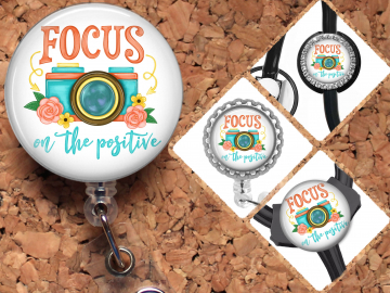 Photography Badge Reel Retractable Lanyard Badge Holder Focus on the Positive Carabiner Id Holder Camera Stethoscope Tag Gift Mylar B1095