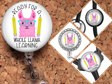 Teacher Llama Badge Reel Retractable Lanyard Badge Holder Carabiner Id Holder Stethoscope Tag School Badge Reel Gift Mylar B1098