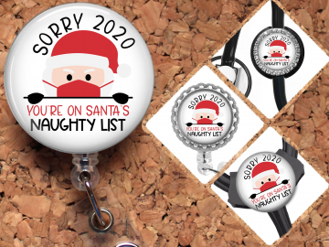 2020 Santa Badge Reel Retractable Lanyard Badge Holder Naughty List Carabiner Id Holder Stethoscope Tag Nurse Badge Reel Gift Mylar