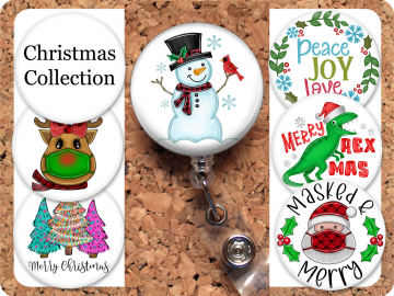 Christmas Badge Reel Retractable Lanyard Badge Holder Holiday Carabiner Id Holder Stethoscope Tag Nurse Badge Reel Gift Mylar