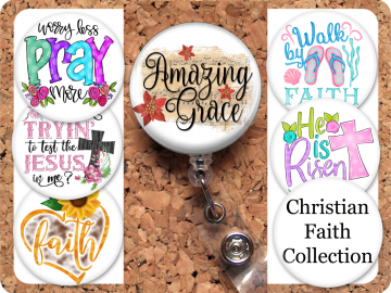 Christian Badge Reel Retractable Lanyard Badge Holder Faith Carabiner Id Holder Stethoscope Tag Nurse Badge Reel Jesus Gift Mylar