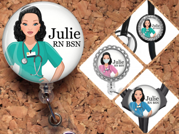 Jack and Sally Retractable Badge Reel,Nurse ID Badge Holder with Alligator Clip,24 inch Nylon Cord,Decorative Name Badge Holder