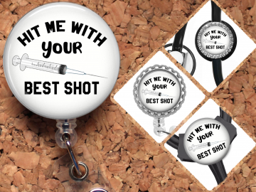 Injection Hit Me with Your Best Shot Badge Reel Retractable Lanyard Badge Holder Carabiner Id Holder Nurse Badge Reel Gift Mylar SHOT